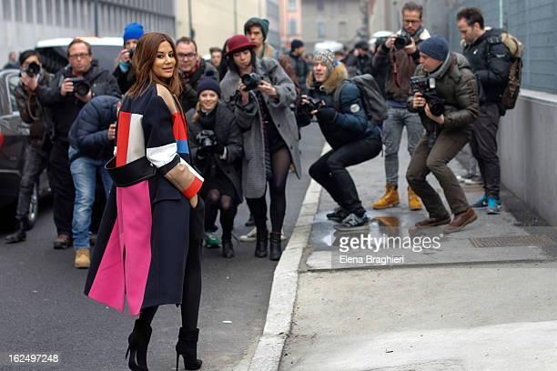 Christine Centenera attends the Milan Fashion Week Womenswear Fall/Winter 2013/14 on February 23 2013 in Milan Italy