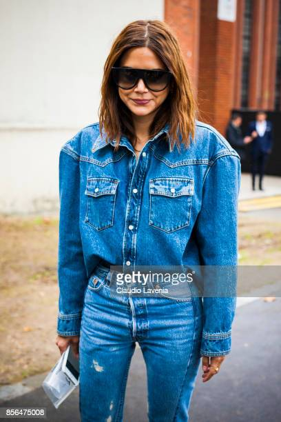 Christine Centenera is seen before the show during Paris Fashion Week Womenswear SS18 on October 1 2017 in Paris France