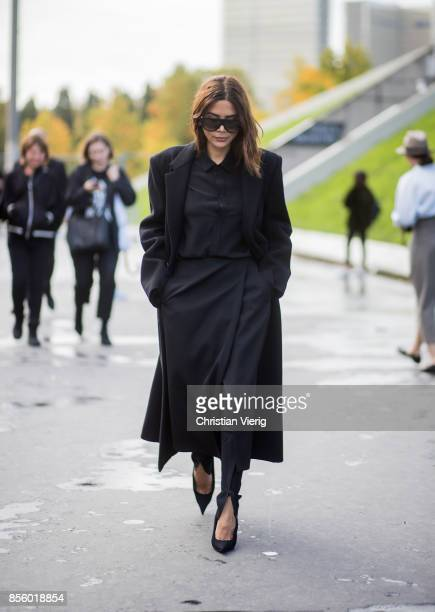 Christine Centenera is seen outside Haider Ackermann during Paris Fashion Week Spring/Summer 2018 on September 30 2017 in Paris France