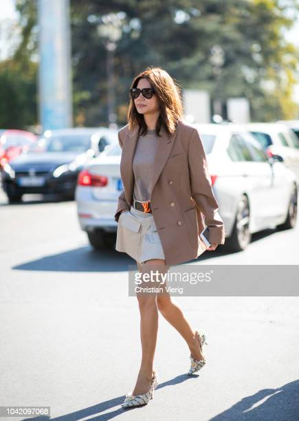 Christine Centenera is seen outside Paco Rabanne during Paris Fashion Week Womenswear Spring/Summer 2019 on September 27 2018 in Paris France
