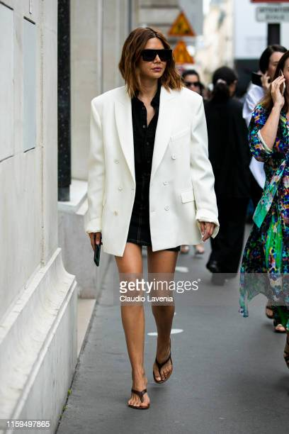 Christine Centenera is seen outside Schiaparelli show during Paris Fashion Week Haute Couture Fall Winter 2019 2020 on July 01 2019 in Paris France