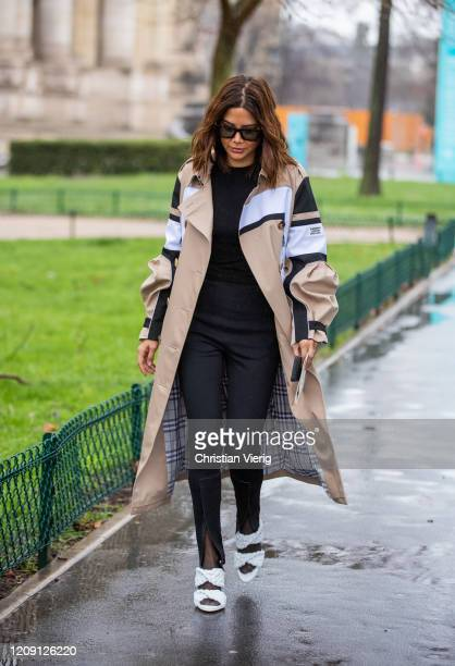 Christine Centenera is seen wearing trench coat outside Chloe during Paris Fashion Week - Womenswear Fall/Winter 2020/2021 : Day Four on February 27,...