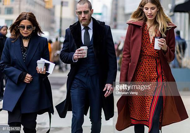 Christine Centenera, Justin O'Shea and Veronika Heilbrunner seen outside Michael Kors during New York Fashion Week: Women's Fall/Winter 2016 on...