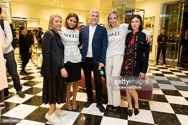 Christine Centenera Kate Darvill and actress Tilda CobhamHervey at the Prada store during Vogue American Express Fashion's Night Out on September 1...