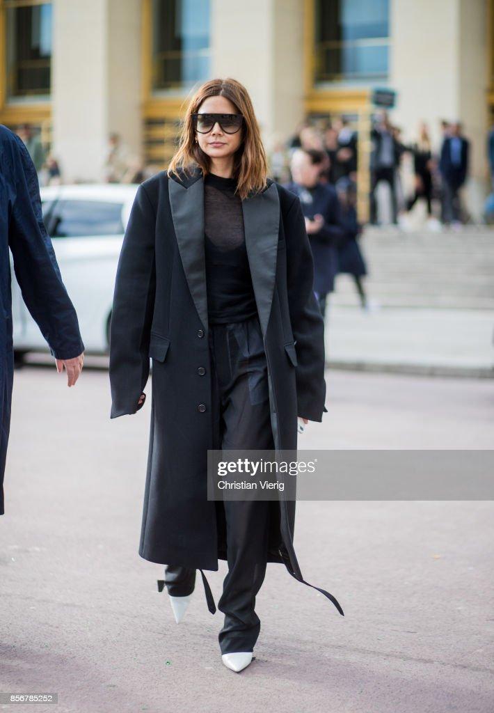 Christine Centenera seen outside Hermes during Paris Fashion Week Spring/Summer 2018 on October 2, 2017 in Paris, France.