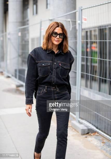 Christine Centenera seen wearing dark denim jeans and jacket outside Dries van Noten during Paris Fashion Week Womenswear Spring Summer 2020 on...