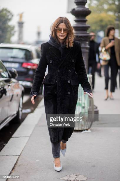 Christine Centenera wearing a back teddy coat is seen outside Maison Margiela during Paris Fashion Week Spring/Summer 2018 on September 27 2017 in...