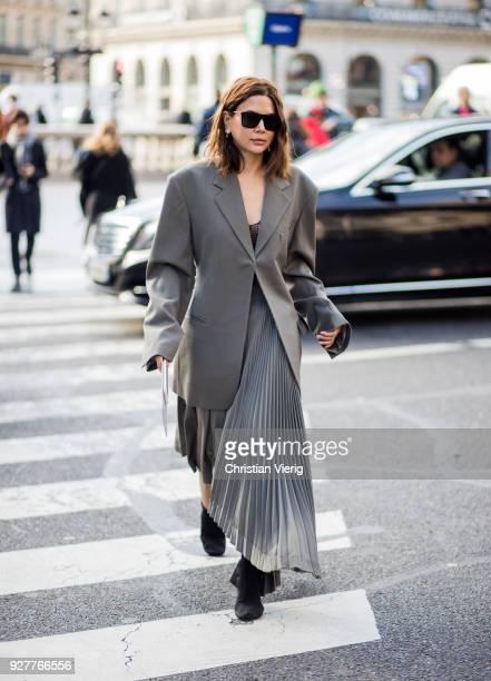 Christine Centenera wearing grey skirt and blazer jacket is seen outside Stella McCartney during Paris Fashion Week Womenswear Fall/Winter 2018/2019...