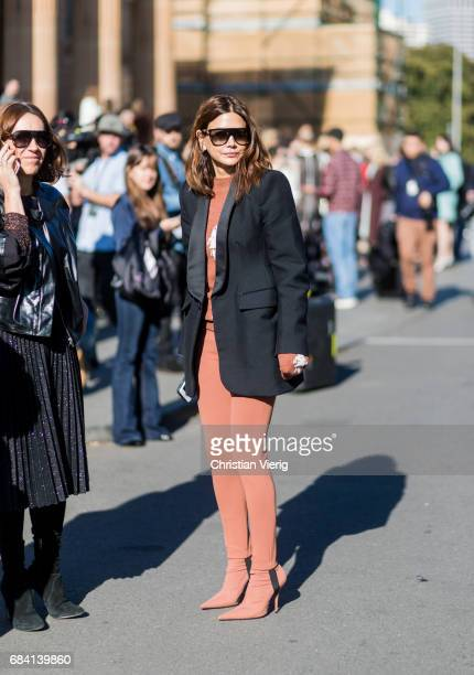 Christine Centenera wearing navy blazer red brown knit and pants outside Ginger Smart at day 4 during MercedesBenz Fashion Week Resort 18 Collections...
