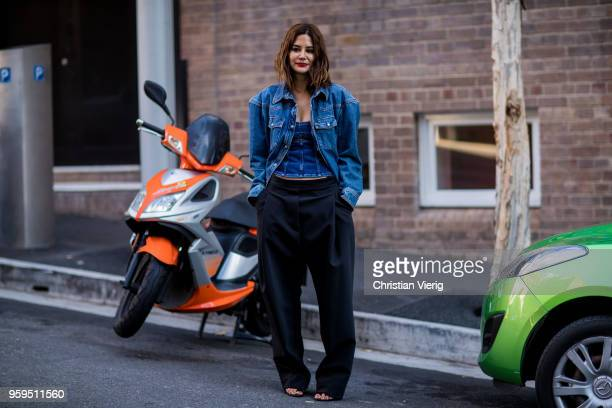 Christine Centenera wearing wide leg pants denim jacket during MercedesBenz Fashion Week Resort 19 Collections at Carriageworks on May 17 2018 in...