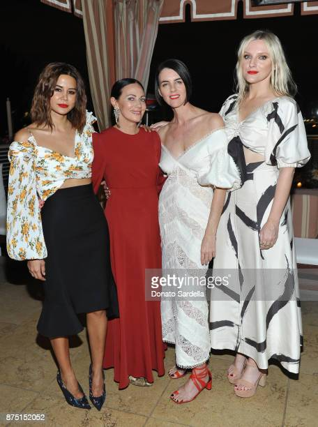 Christine Centenera Zimmermann Founder/designer Nicky Zimmermann Jillian Davison and Laura Brown at Zimmermann Los Angeles Dinner at Sunset Tower on...
