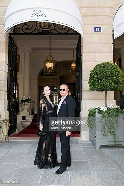 Christine Chiu and Dr Gabriel Chiu are seen at the 'RITZ' hotel on 'Place Vendome' during Haute Couture Paris Fashion Week on July 6 2016 in Paris...