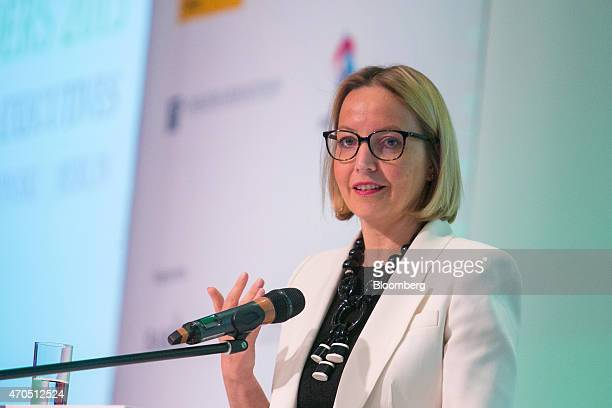 Christine Claire Graeff, director general for communications and language services at the European Central Bank , speaks during the global female...