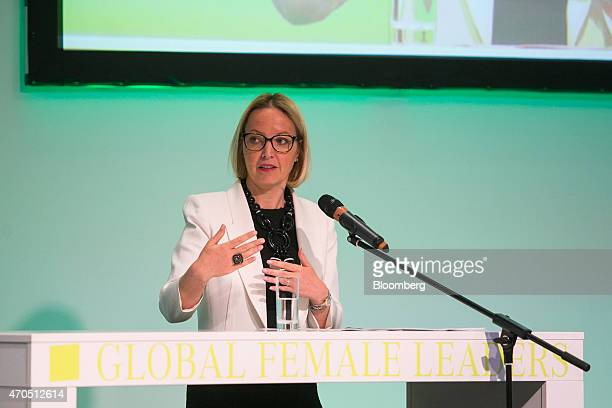 Christine Claire Graeff director general for communications and language services at the European Central Bank gestures as she addresses the global...
