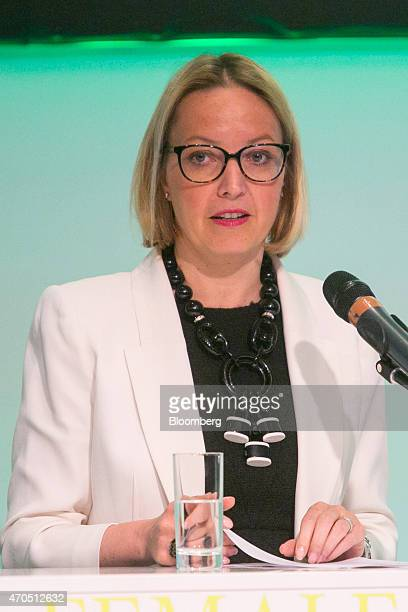 Christine Claire Graeff director general for communications and language services at the European Central Bank speaks during the global female...