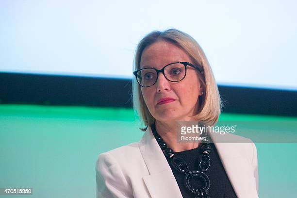 Christine Claire Graeff, director general for communications and language services at the European Central Bank , pauses as she addresses the global...