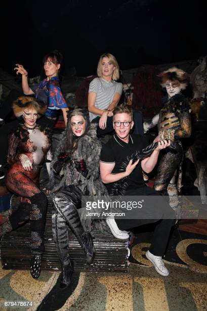 Christine Cornish Smith Mamrie Hart Mamie Parris Grace Helbig Tyler Oakley and Jakob Karr backstage at 'Cats' on Broadway at the Neil Simon Theatre...