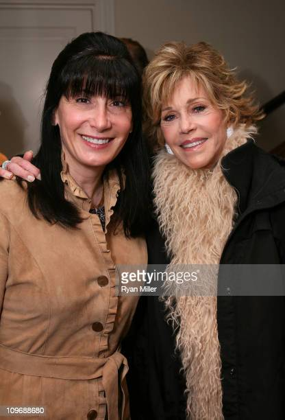Christine Crombie and cast member Jane Fonda pose during Center Theatre Group's Artistic Director's Circle Event with Jane Fonda star of 33...