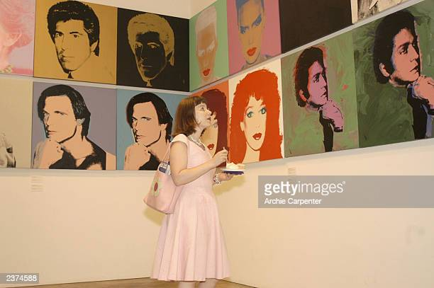 Christine 'Darling' Feldman enjoys birthday cake as well as the artwork of Andy Warhol during the 75th birthday celebrations at the Andy Warhol...