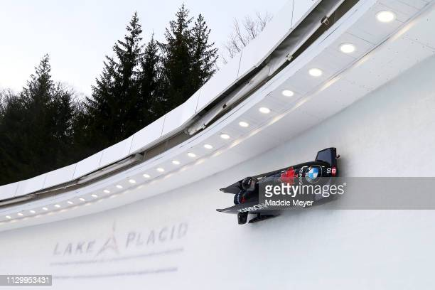 Christine de Bruin and Kristen Bujnowski of Canada compete during the second run of the twowoman bobsled race on day 1 of the 2019 IBSF World Cup...