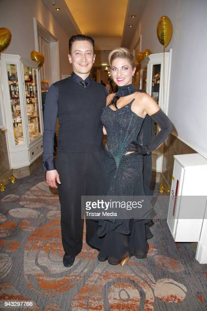 Christine Deck and her dancing partner Stanislaw Massold during the 21st Blauer Ball at Hotel Atlantic on April 7 2018 in Hamburg Germany