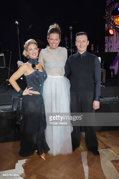 Christine Deck her dancing partner Stanislaw Massold and Susanne Boehm during the 21st Blauer Ball at Hotel Atlantic on April 7 2018 in Hamburg...