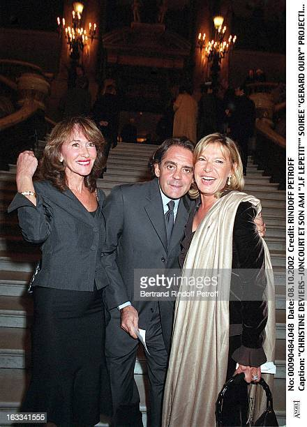 Christine DeviersJoncourt and her friend JF Lepetit'' 'Gerard Oury' film screening of 'La Grande Vadrouille' at the Garnier opera