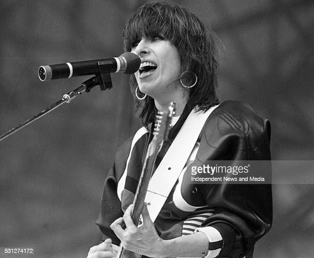 Christine Ellen 'Chrissie' Hynde lead singer and guitarist of The Pretenders on stage for U2 The Joshua Tree Tour 2nd leg Europe Croke Park Dublin...