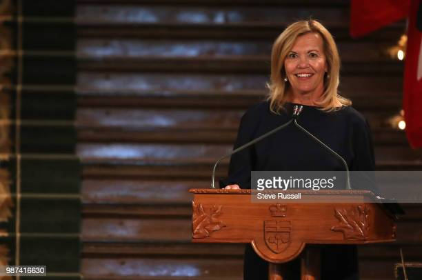 TORONTO ON JUNE 29 Christine Elliott takes the podium to take her oath as deputy premier and health minister Doug Ford is sworn in as the 26th...