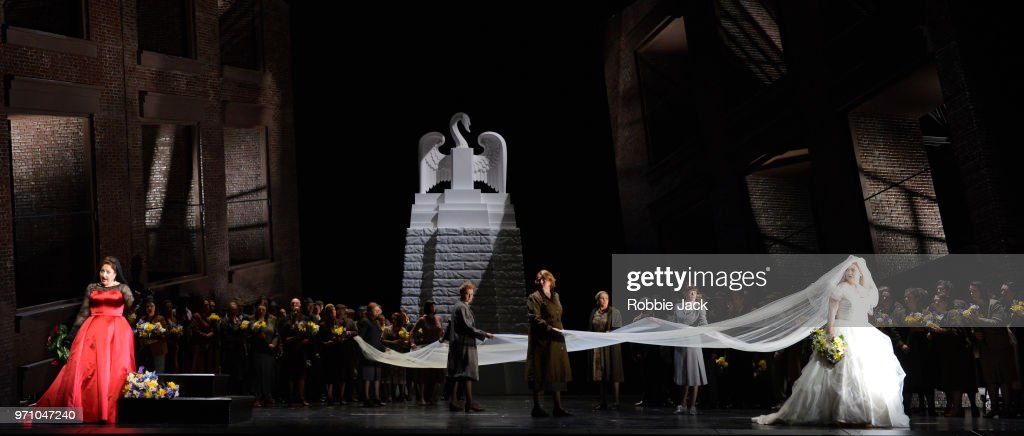 30**Christine Goerke as Ortrud and Jennifer Davis as Elsa von Brabant with artists of the company in Richard Wagner's Lohengrin directed by David Alden and conducted by Andris Nelsons at the Royal Opera House on June 4, 2018 in London, England.