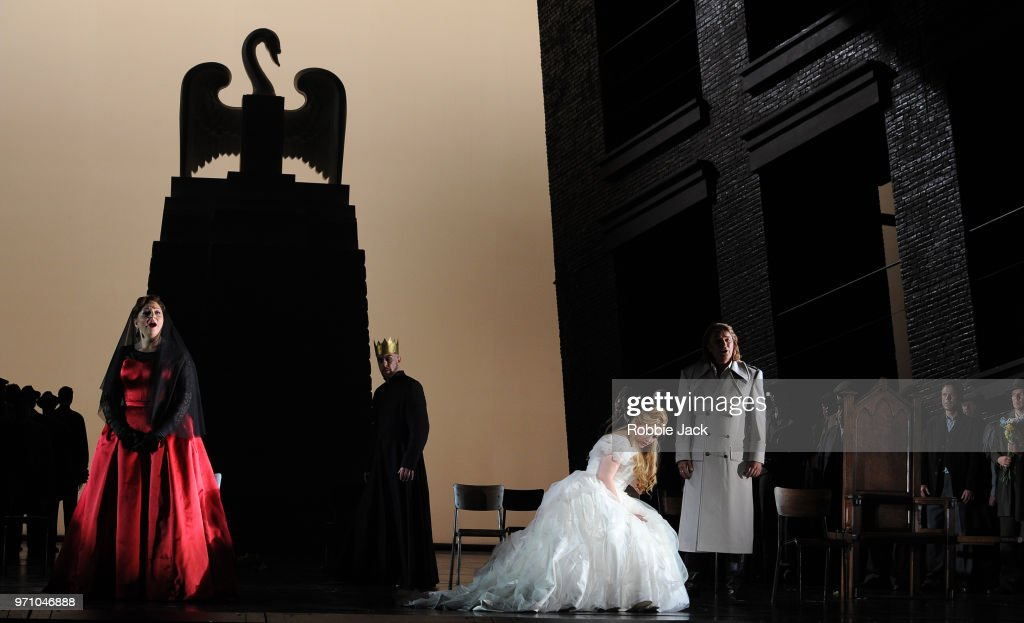 30** Christine Goerke as Ortrud, Georg Zeppenfeld as King Heinrich, Jennifer Davis as Elsa von Brabant and Klaus Florian Vogt as Lohengrin with artists of the company in Richard Wagner's Lohengrin directed by David Alden and conducted by Andris Nelsons at the Royal Opera House on June 4, 2018 in London, England.