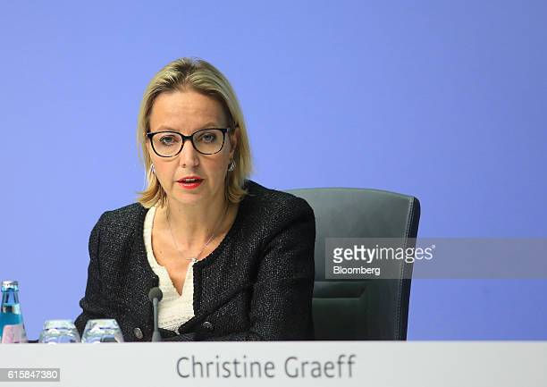 Christine Graeff director general for communications at the European Central Bank speaks during a news conference to announce the bank's interest...
