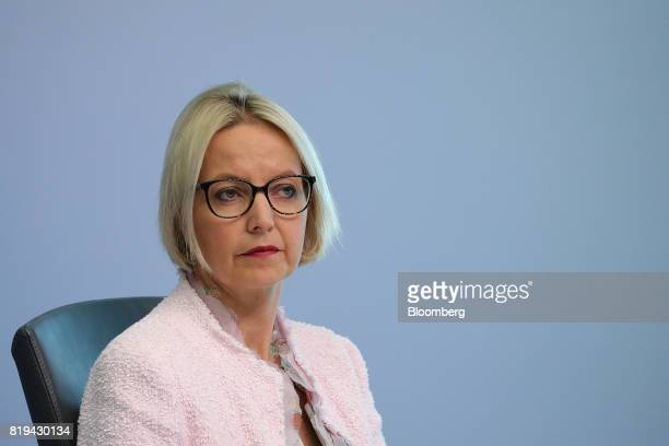 Christine Graeff director general for communications at the European Central Bank looks on during a news conference following the bank's interest...
