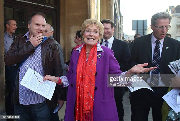 Christine Hamilton arrives to listen to UK Independence Party leader Nigel Farage speak at The Forum in Bath on April 29 2014 in Bath and North East...