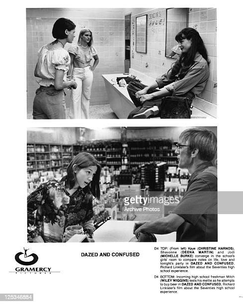 Christine Harnos Deena Martin and Michelle Burke are in a split scene with Wiley Wiggins from the film 'Dazed And Confused' 1993
