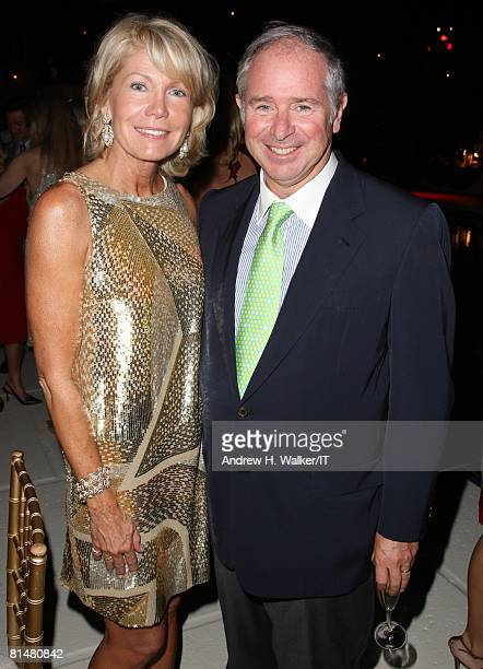 Christine Hearst Schwarzman and Stephen Schwarzman attend the Drinks Dinner and Disco Party the night before the wedding of Ivana Trump and Rossano...
