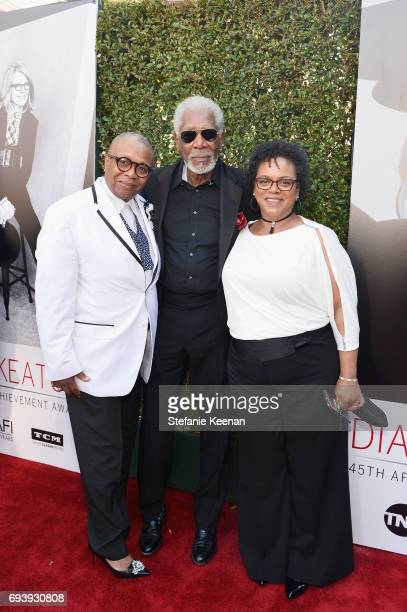 Christine Johnson actor Morgan Freeman and Deena Adair arrive at American Film Institute's 45th Life Achievement Award Gala Tribute to Diane Keaton...