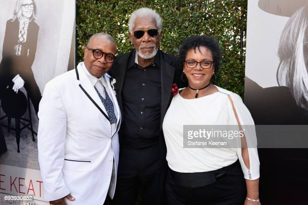 Christine Johnson, actor Morgan Freeman, and Deena Adair arrive at American Film Institute's 45th Life Achievement Award Gala Tribute to Diane Keaton...