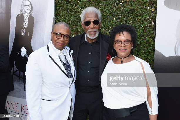 Christine Johnson, actor Morgan Freeman, and Deena Adair arriveat American Film Institute's 45th Life Achievement Award Gala Tribute to Diane Keaton...