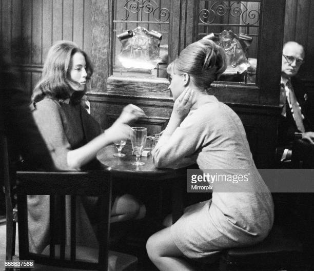 Christine Keeler and Mandy Rice Davies taking a break from the trial of society osteopath Stephen Ward at the Old Bailey on Monday 22nd July 1963...