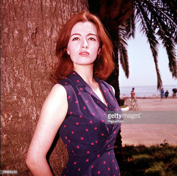 Christine Keeler key figure in the 1963 Profumo Scandal which rocked the government wearing a spotty dress 1963