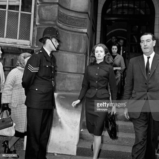 Christine Keeler leaving Marlborough Street Magistrates Court charged with perjury and conspiring to obstruct the course of justice 13th September...