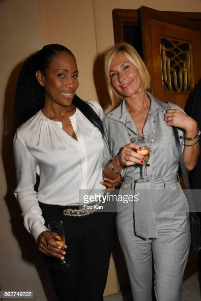 Christine Kelly and Karine Fauvet attend the 'Gala de L'Espoir' Auction Dinner Against Cancer at the Theatre des Champs Elysees on October 17 2017 in...