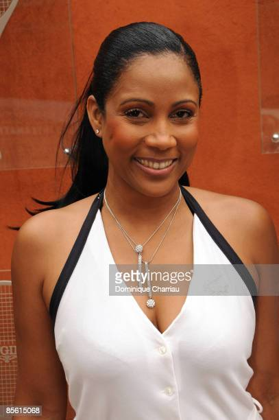 Christine Kelly attends The French Open at Roland Garros on May 31 2008 Paris France
