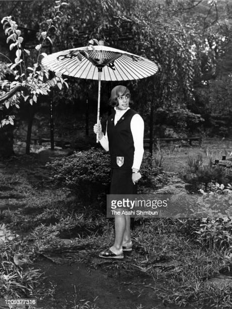 Christine 'Kiki' Caron of France strolls the Japanese Garden on September 24 1964 in Tokyo Japan