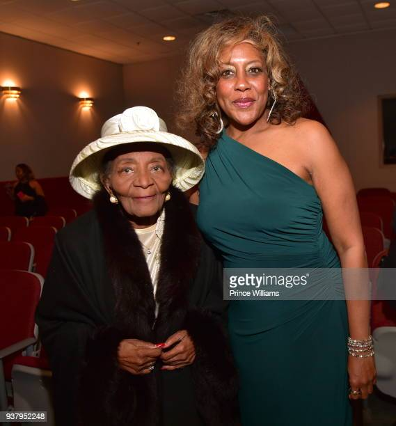 Christine King Farris and Josetta Shropshire Howard attend UNSLOVED HISTORY Life of a King Atlanta screening at Martin Luther King Jr National...