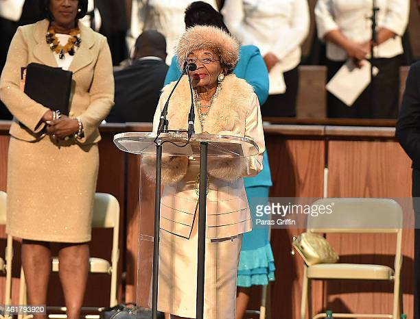 Christine King Farris onstage at the 2015 Martin Luther King Jr Annual Commemorative Service at Ebenezer Baptist Church on January 19 2015 in Atlanta...