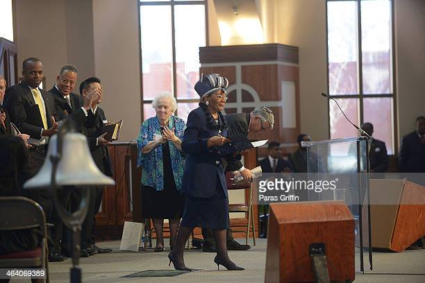 Christine King Farris onstage at the Martin Luther King Jr 2014 Commemorative Service at Ebenezer Baptist Church on January 20 2014 in Atlanta...