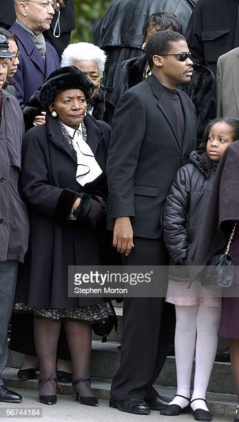 Christine King Farris sister of Martin Luther King Jr and Isaac Newton Farris wait for the casket of Coretta Scott King to arrive at Georgia's state...