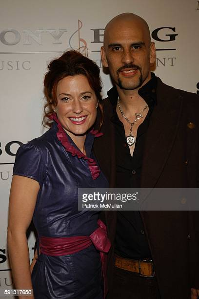 Christine Kushner and Dave Kushner attend Sony BMG Music Entertainment Grammy Party 2005 at Hollywood Roosevelt Hotel on February 13 2005 in Los...